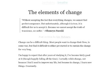 http://zenhabits.net/elements-of-change/