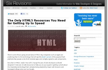 http://sixrevisions.com/html/the-only-html5-resources-you-need-for-getting-up-to-speed/