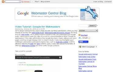 http://googlewebmastercentral.blogspot.com/2008/10/video-tutorial-google-for-webmasters.html