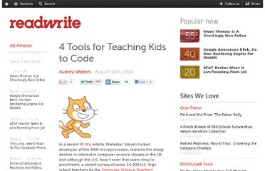 http://readwrite.com/2010/08/18/4_tools_for_teaching_kids_to_code