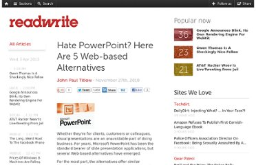 http://readwrite.com/2010/11/27/hate-powerpoint-here-are-5-web-based-alternatives