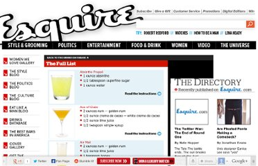 http://www.esquire.com/drinks/drinks-full-list/