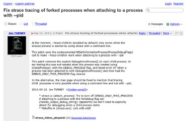 http://cygwin.1069669.n5.nabble.com/Fix-strace-tracing-of-forked-processes-when-attaching-to-a-process-with-pid-td90809.html