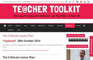 http://teachertoolkit.me/the-5-minute-lesson-plan/