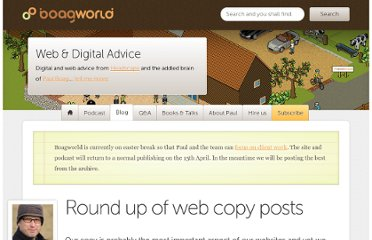 http://boagworld.com/content-strategy/round-up-of-web-copy-posts/