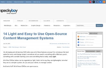http://speckyboy.com/2010/07/19/14-light-and-east-to-use-open-source-content-management-systems/