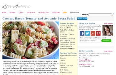 http://www.lifesambrosia.com/2010/06/creamy-bacon-tomato-and-avocado-pasta-salad-recipe.html