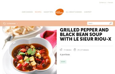 http://ourcheeses.com/recipes/grilled-pepper-and-black-bean-soup-with-le-sieur-riou-x
