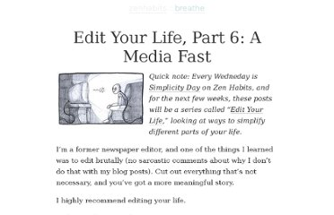 http://zenhabits.net/edit-your-life-part-6-a-media-fast/