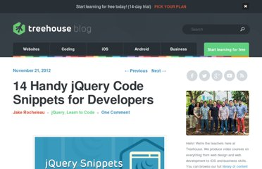 http://blog.teamtreehouse.com/14-handy-jquery-code-snippets-for-developers