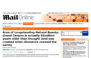 http://www.dailymail.co.uk/sciencetech/article-2240449/Grand-Canyon-actually-65million-years-older-thought.html
