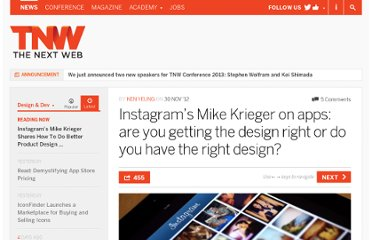 http://thenextweb.com/dd/2012/11/30/instagram-mike-krieger-design-tips-and-principles/