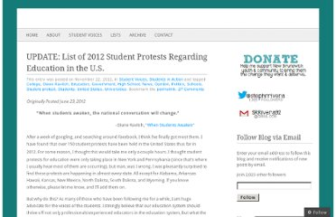 http://teacherunderconstruction.com/2012/11/22/list-of-2012-student-protests-regarding-education-in-the-u-s/