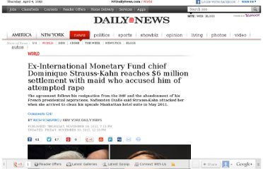 http://www.nydailynews.com/news/world/ex-imf-chief-strauss-kahn-reportedly-settles-rape-related-lawsuit-article-1.1210528