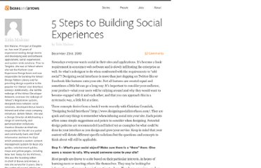 http://boxesandarrows.com/5-steps-to-building-social-experiences/