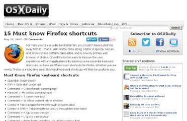 http://osxdaily.com/2007/05/18/15-must-know-firefox-shortcuts/