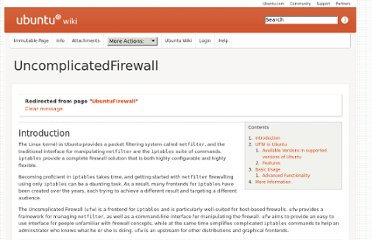 https://wiki.ubuntu.com/UncomplicatedFirewall?action=show&redirect=UbuntuFirewall