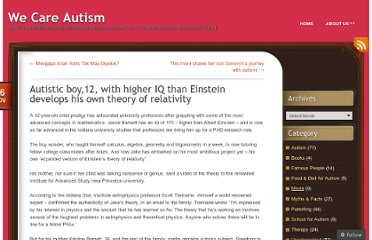 http://wecareautism.wordpress.com/2012/11/26/autistic-boy12-with-higher-iq-than-einstein-develops-his-own-theory-of-relativity/