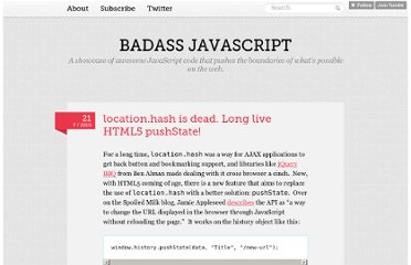 http://badassjs.com/post/840846392/location-hash-is-dead-long-live-html5-pushstate