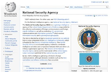 http://en.wikipedia.org/wiki/National_Security_Agency