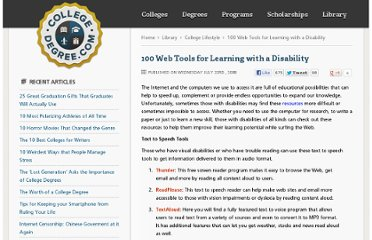 http://www.collegedegree.com/library/college-life/100_web_tools_for_learning_with_disability