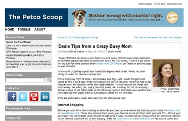 http://www.petcoscoop.com/2010/05/deals-tips-from-a-crazy-busy-mom/