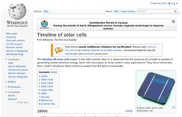 http://en.wikipedia.org/wiki/Timeline_of_solar_cells