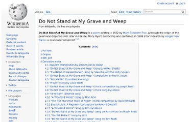 http://en.wikipedia.org/wiki/Do_Not_Stand_at_My_Grave_and_Weep