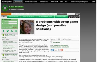 http://www.gamasutra.com/view/news/181576/5_problems_with_coop_game_design_and_possible_solutions.php#.UL9ZeINdM6c