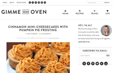 http://www.gimmesomeoven.com/cinnamon-mini-cheesecakes-with-pumpkin-pie-frosting/
