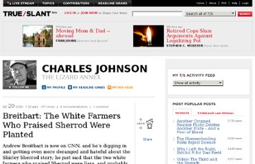 http://trueslant.com/charlesjohnson/2010/07/20/breitbart-the-white-farmers-who-praised-sherrod-were-planted/