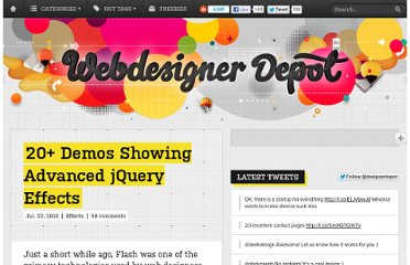 http://www.webdesignerdepot.com/2010/07/20-demos-showing-advanced-jquery-effects/
