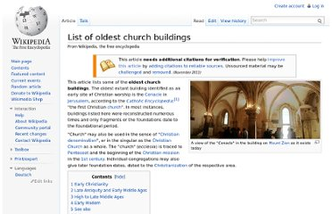 http://en.wikipedia.org/wiki/List_of_oldest_church_buildings