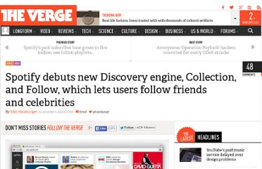 http://www.theverge.com/2012/12/6/3736018/spotify-debuts-new-discovery-engine-collection-and-follow-which-lets