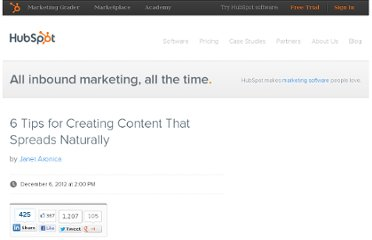 http://blog.hubspot.com/blog/tabid/6307/bid/33906/6-Tips-for-Creating-Content-That-Spreads-Naturally.aspx