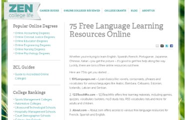 http://www.zencollegelife.com/75-free-language-learning-resources-online/