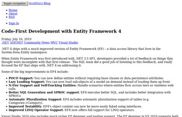 http://weblogs.asp.net/scottgu/archive/2010/07/16/code-first-development-with-entity-framework-4.aspx
