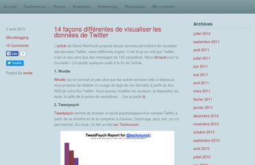 http://emilieogez.com/blog/2010/08/02/14-facons-differentes-de-visualiser-les-donnees-de-twitter/