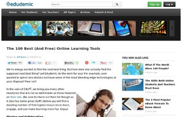 http://edudemic.com/2010/07/the-100-best-and-free-online-learning-tools/