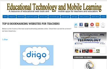 http://www.educatorstechnology.com/2012/12/top-10-bookmarking-websites-for-teachers.html