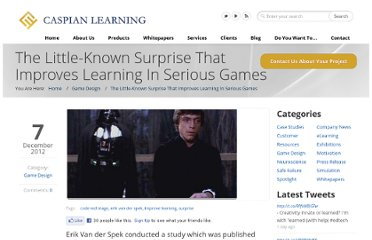 http://www.caspianlearning.co.uk/game-design/the-little-known-surprise-that-improves-learning-in-serious-games.htm