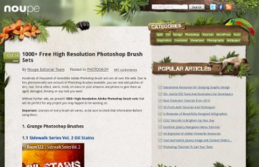 http://www.noupe.com/photoshop/1000-free-high-resolution-photoshop-brush-sets.html