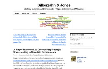 http://silberzahnjones.com/2012/11/15/a-simple-framework-to-develop-deep-strategic-understanding-in-uncertain-environments/#more-1025