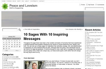 http://peaceandloveism.com/blog/2012/01/10-sages-with-10-inspiring-messages/