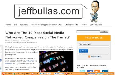 http://www.jeffbullas.com/2010/04/27/who-are-the-10-most-social-media-networked-companies-on-the-planet/