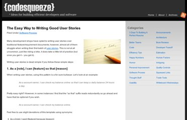 http://codesqueeze.com/the-easy-way-to-writing-good-user-stories/