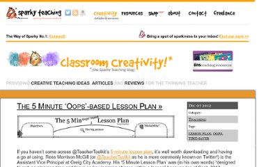 http://www.sparkyteaching.com/creative/the-5-minute-oops-based-lesson-plan/