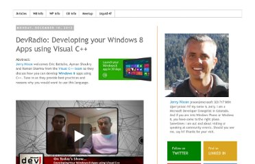 http://blog.jerrynixon.com/2012/12/devradio-developing-your-windows-8-apps.html