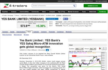 http://www.4-traders.com/YES-BANK-LIMITED-9059346/news/Yes-Bank-Limited-YES-Bank-s-YES-Sahaj-Micro-ATM-innovation-gets-global-recognition-15579703/