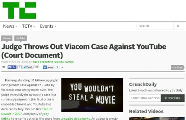 http://techcrunch.com/2010/06/23/youtube-declares-victory-in-viacom-case/